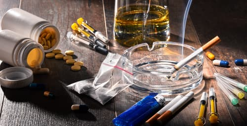 Addictive substances including alcohol, nicotine, and drugs.